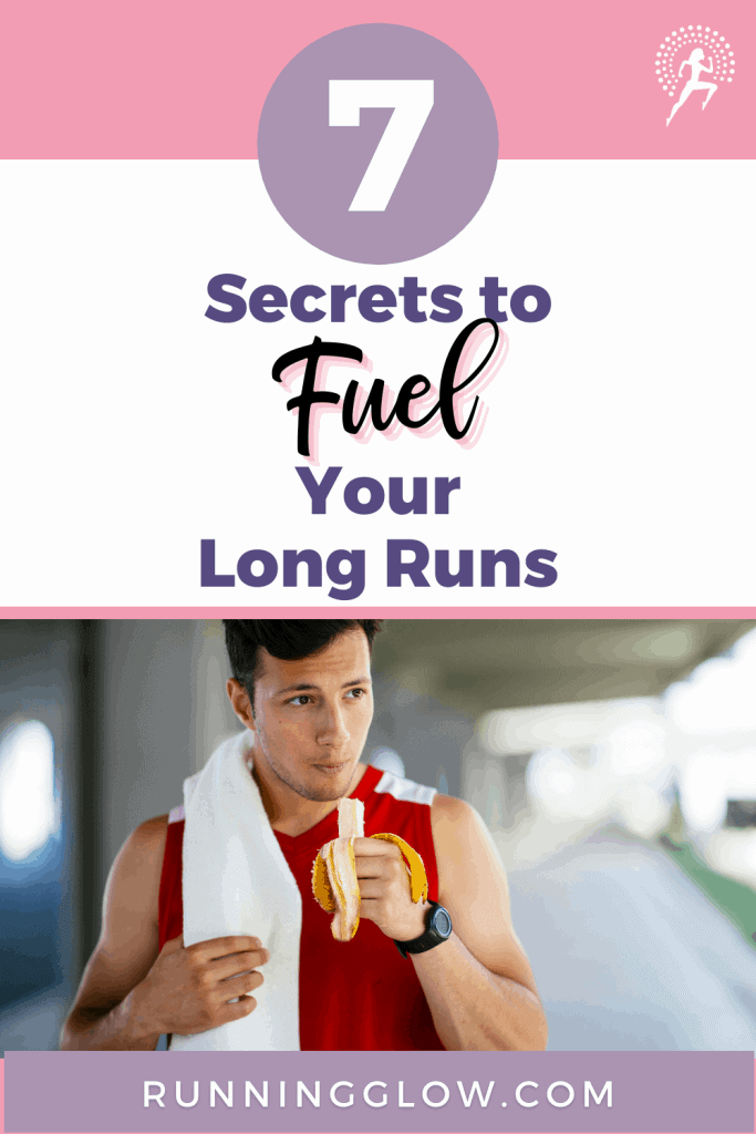 male runner fueling with a banana for long run