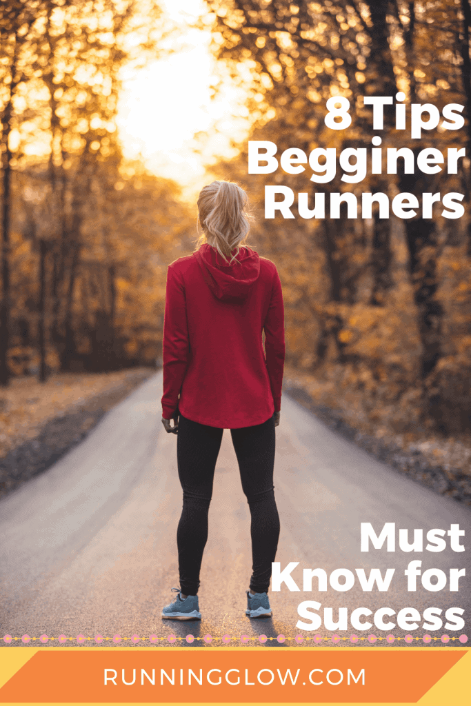 female beginner runner standing on trail at dawn