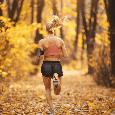 beginner female runner woods