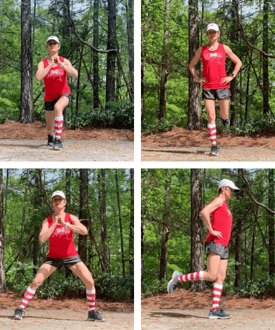 Female runner doing dynamic stretches before a run