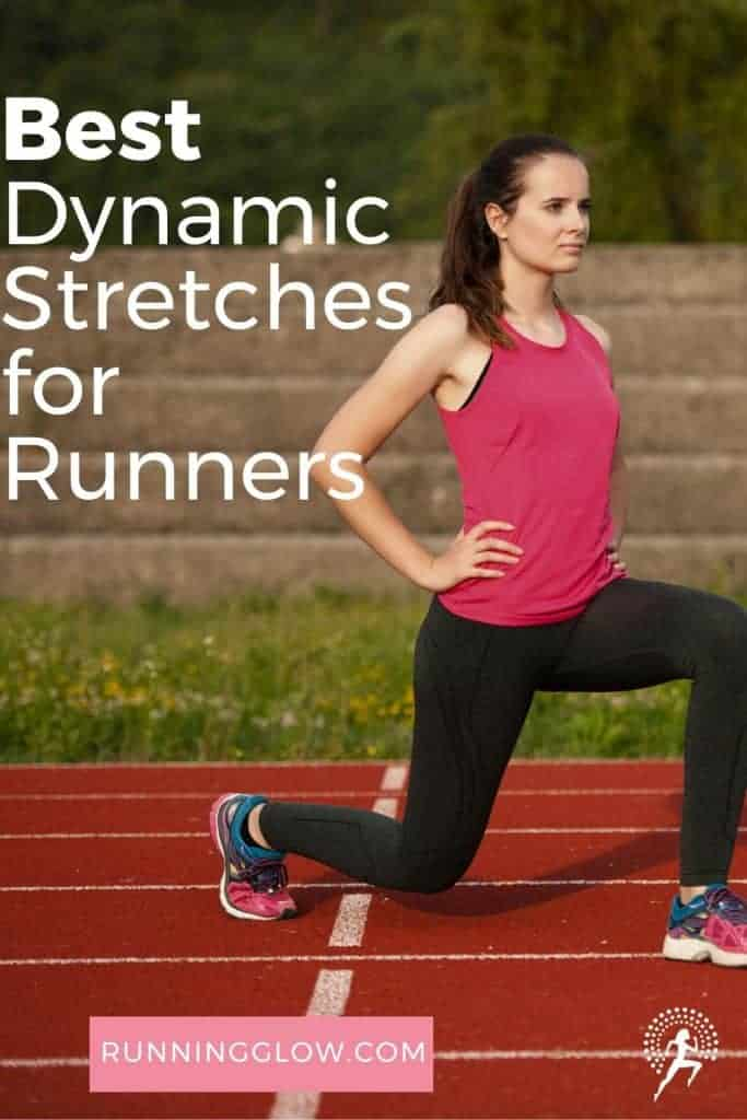 female runner doing dynamic stretching for running