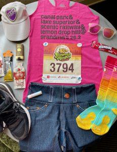 flat lay grandma's marathon