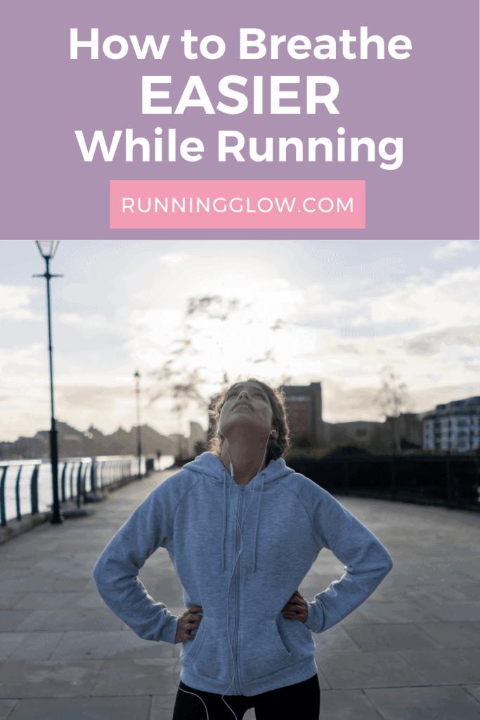 female runner breathing on a winter morning