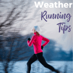 female running in evening snow in cold weather