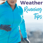 female in blue jacket running in cold, snowy weather