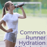 female hydrating after a run