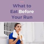 female runner having a banana before a run