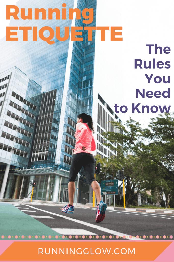 female running across city street using runner etiquette