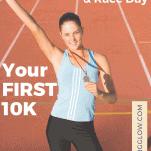 female runner with 10K medal