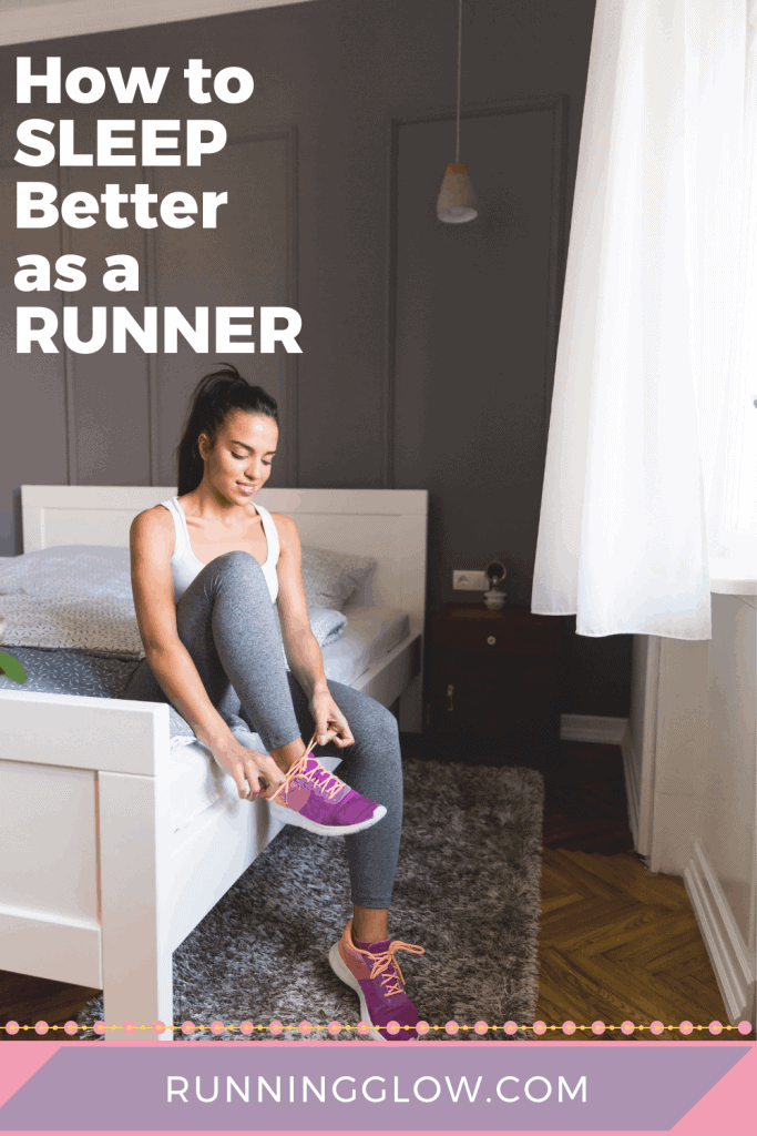 female runner lacing up running shoes in bedroom