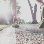 a runner's leg on road