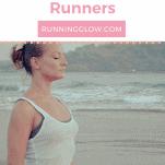 female runner yoga meditation beach