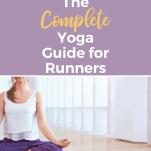 female runner meditation yoga pose on floor