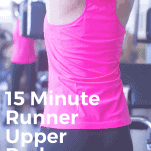 female runner working out in gym with pink top