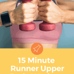 female runner with pink weights upper body work