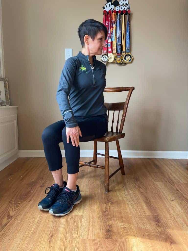 seated chair twist desk stretch runner