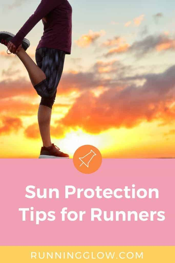 Female runner sun protection stretching in sunlight