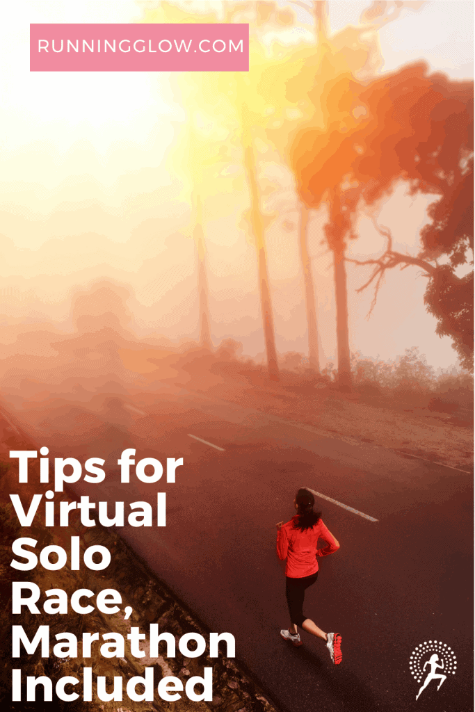 woman running solo on road at dawn