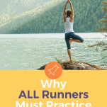 female runner practicing yoga tree pose near lake and mountains